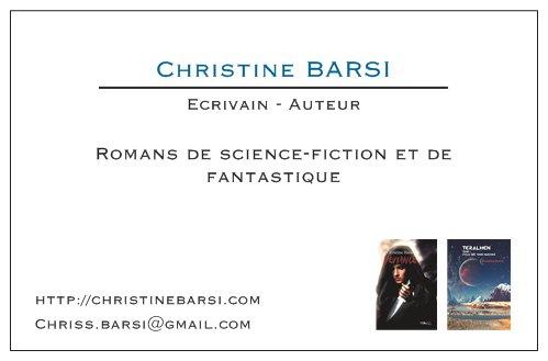 Carte de visite de l'écrivain Christine Barsi