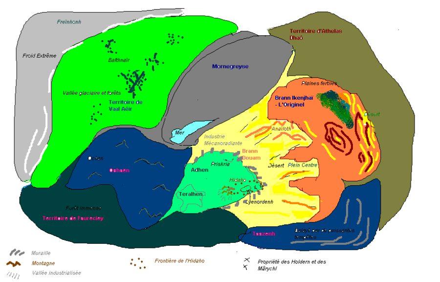 Carte de Stelhenia - Les Continents (Cycle des Trois Marches)