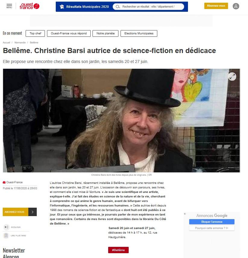 Ouest France - Christine Barsi en dédicaces sur Bellême