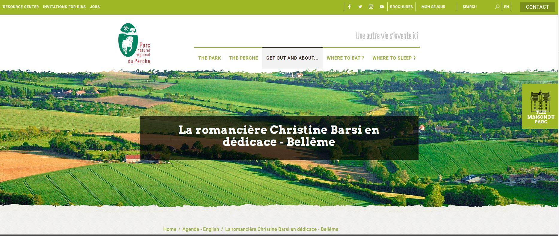 Parc Régional du Perche - La romancière Christine Barsi juillet 2020