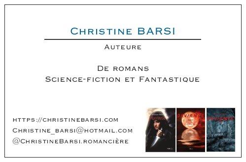 Carte de visite de la romancière Christine Barsi