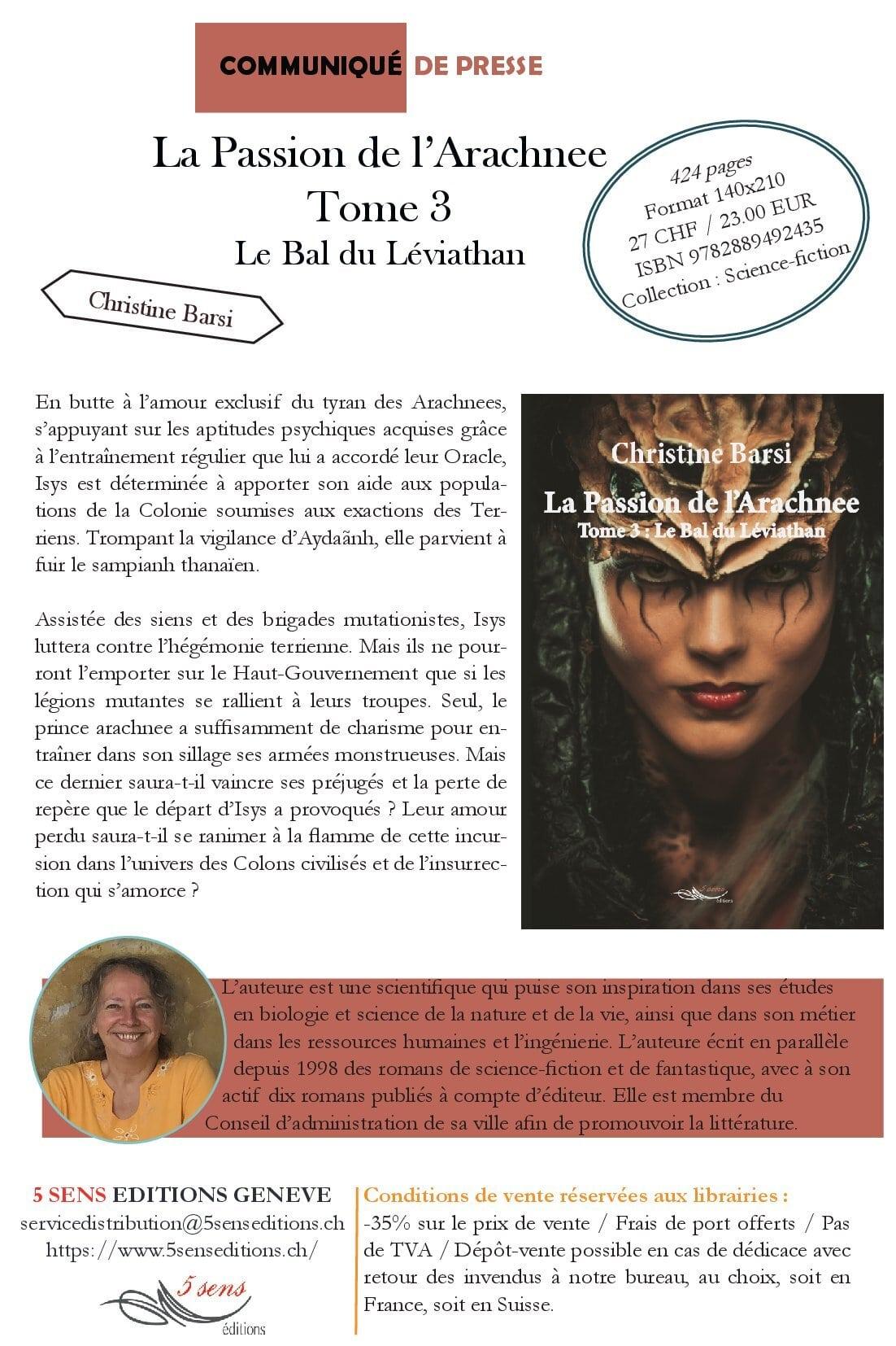 Communiqué de presse - La passion de l'Arachnee Tome 3 : Le Bal du Leviathan